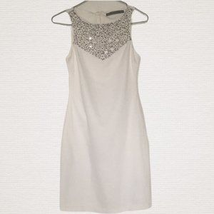 Zara White Beaded Sleeveless Sheath Dress XS
